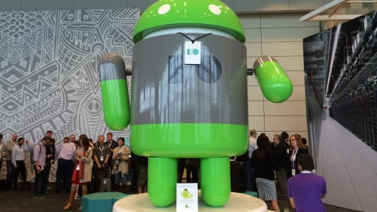 An Android sculpture stands in the lobby of Google I/O last June.